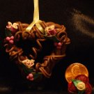 Heart Wreath Ornament # 13 Handmade from Polymer Clay by Treasure Vallie