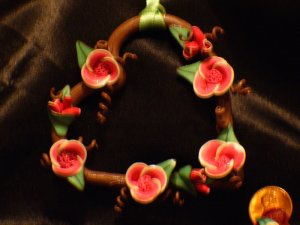 Heart Wreath Ornament # 15 Handmade from Polymer Clay by Treasure Vallie