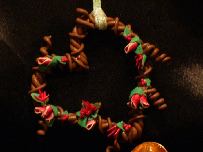 Heart Wreath Ornament # 19 Handmade from Polymer Clay by Treasure Vallie