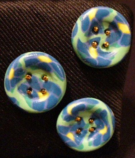 Button Set # 8 Polymer Clay Button Set of 3 - handmade from Polymer Clay by Treasure Vallie