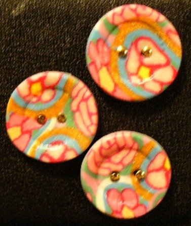 Button Set # 18 Polymer Clay Button Set of 3 - handmade from Polymer Clay by Treasure Vallie