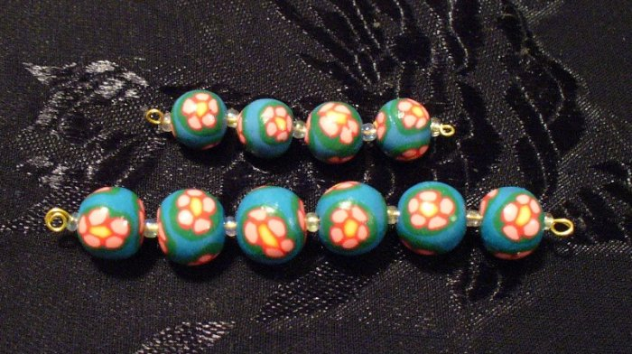 Set of 10 Beads # 2- Handmade from Polymer Clay by Treasure Vallie