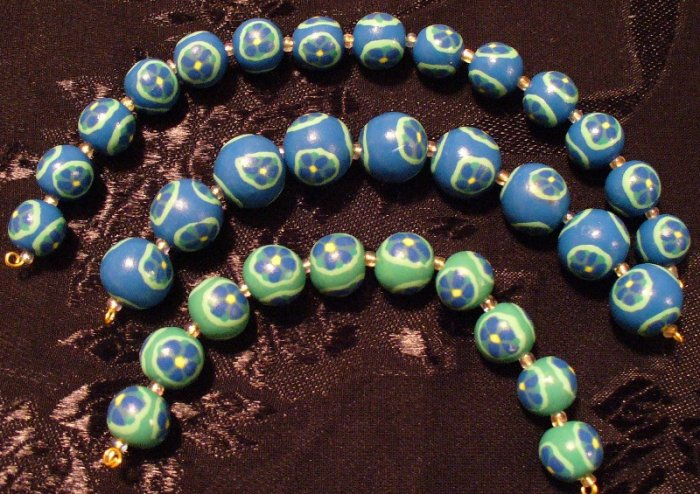 Set of 10 Beads # 14- Handmade from Polymer Clay by Treasure Vallie