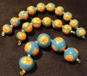 Set of 12 Beads # 38- Handmade from Polymer Clay by Treasure Vallie