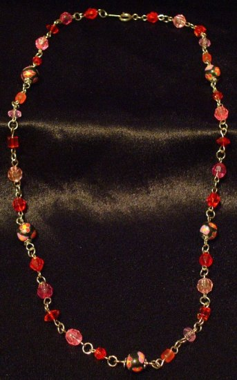 Chain link Necklace # 6- Polymer Clay Beads handmade by Treasure Vallie