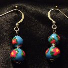 Sterling Silver Earrings # 1- Polymer Clay Beads handmade by Treasure Vallie