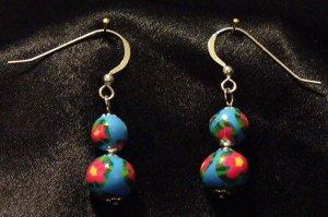 Sterling Silver Earrings # 1- Polymer Clay Beads handmade by Treasure Vallie