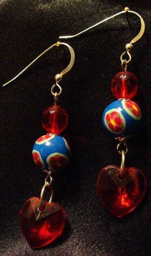 Sterling Silver Earrings # 5- Polymer Clay Beads handmade by Treasure Vallie