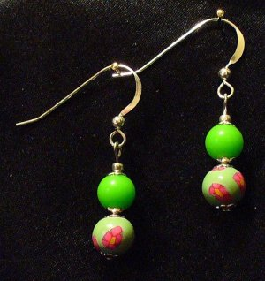 Sterling Silver Earrings # 11- Polymer Clay Beads handmade by Treasure Vallie