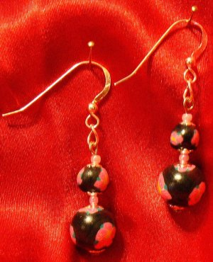 Sterling Silver Earrings # 12- Polymer Clay Beads handmade by Treasure Vallie