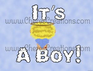 Blonde It's A Boy Birth Announcement and Free Iron-On Graphic U-Print