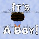 Brunette It's A Boy Birth Announcement and Free Iron-On Graphic U-Print