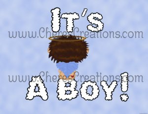 Brown Headed It's A Boy Birth Announcement and Free Iron-On Graphic U-Print