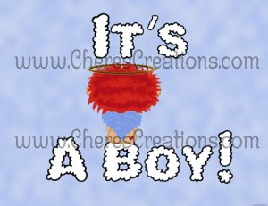 Red Headed It's A Boy Birth Announcement and Free Iron-On Graphic U-Print
