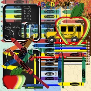 Digital Scrapbooking Kits - School Days Full Digital Scrapbook Kit 11x8.5 with 97 Digital Graphics