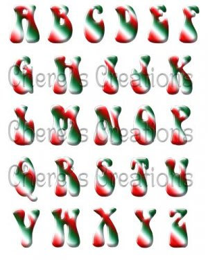 Digital Scrapbooking Kits - Christmas Candy Alphabet Red,White & Green with 62 Graphics