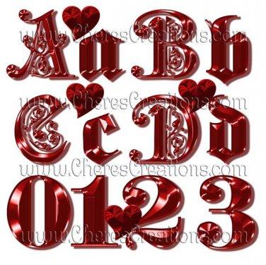 Fancy Red Alphabet Digital Scrapbook Kit