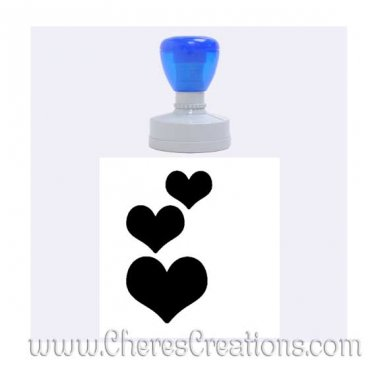 Three Hearts Rubber Stamp Round With Six Ink Color Choices Large