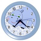 "Hippo Wall Clock 10"" Diameter Plastic Frame and Face Cover Choice of 2 Colors"