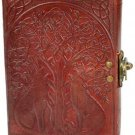 Celtic Wolves Howling - Tree of LIfe Journal Wolf Leather Diary Scrapbook BOS