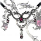 Dragon Necklace Purple Crystals Double Dragon Princess Necklace Draconic Wicca