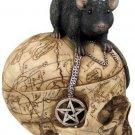 Salem WITCH SKULL & Mouse Statue Pentacle Pentagram Skull Wiccan PAGAN