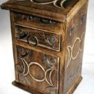 "Triple Moon Goddess Wicca Pagan Wood Carved Mini Herb Cupboard Chest 8.75"" Tall"