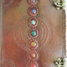 LARGE 10X13 Leather Embossed Journal Chakra 3 Locks COVEN size Book of Shadows