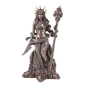 Hecate Hekate GREEK Goddess Statue Wiccan Pagan Statue  Hecate Statue BRONZE