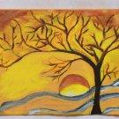 NEW acrylic landscape tree yellow painting sunrise sun nature painting home living room art