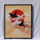 Birds Sunset painting - acrylic art beige black red white decorating art oriental painting