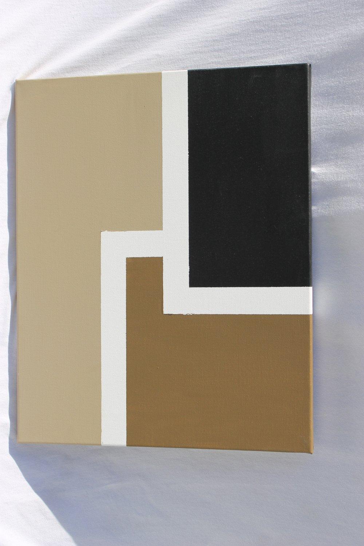 New retro painting abstract beige black art decor