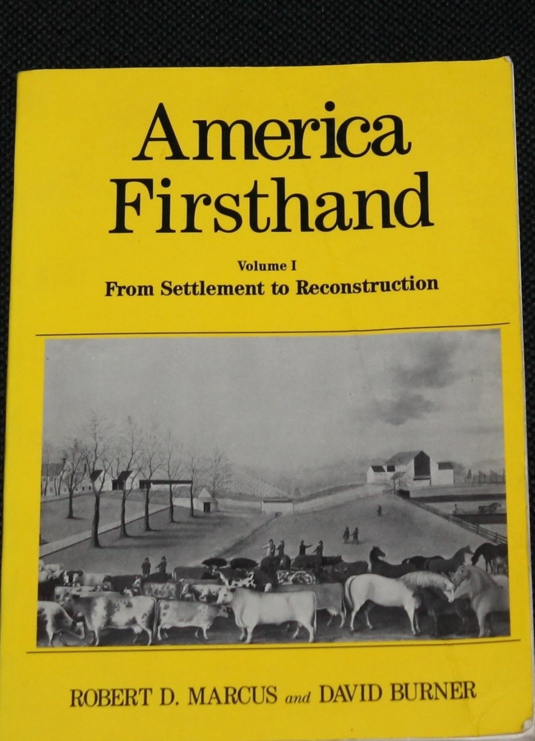 Firsthand America Vol. 1 From Settlement To Reconstruction history first hand book Robert D. Marcus
