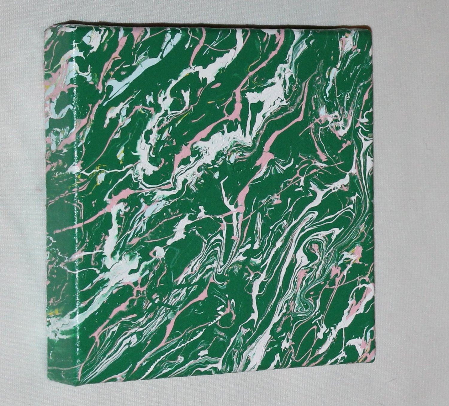 Home or Business Decor Art -  abstract painting - green pink white - marbled design