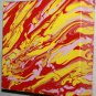Home or Business Decor Art - abstract painting - red pink yellow marbled design