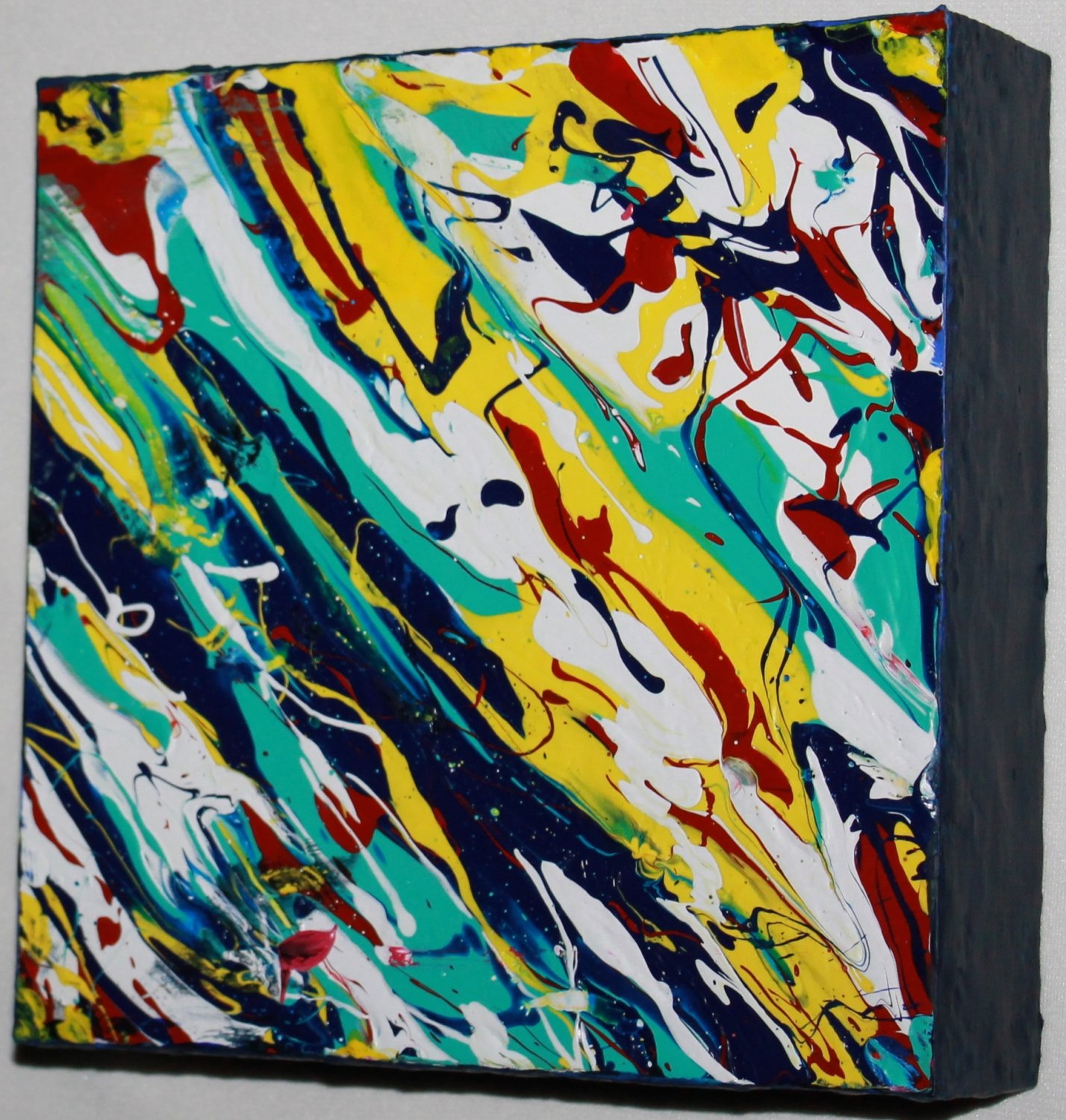 Home Decor Art - abstract marbled painting  - teal dark blue yellow red blue white
