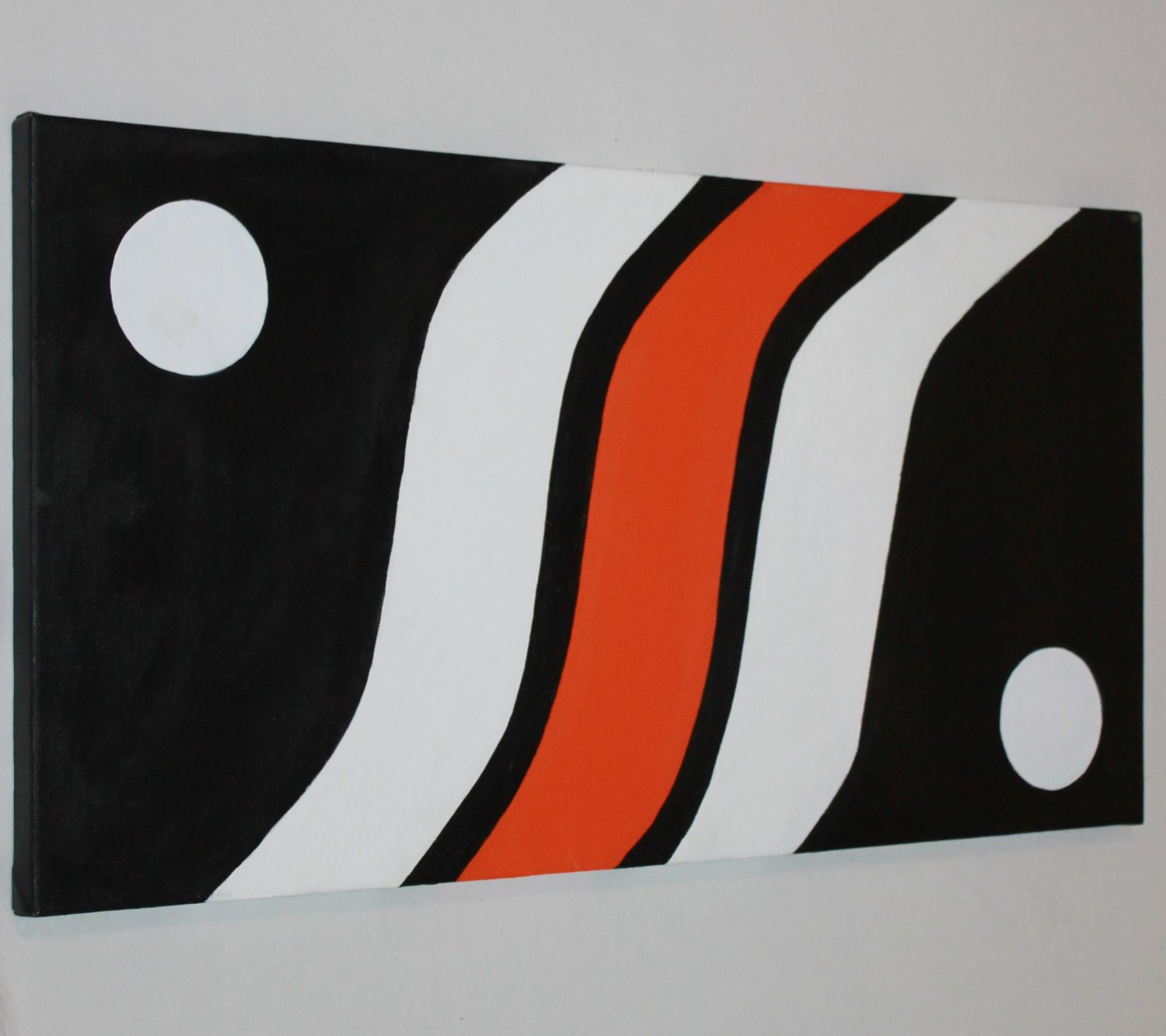 Accent Painting - Acrylic Art on Canvas - Home or Office decor - black white orange