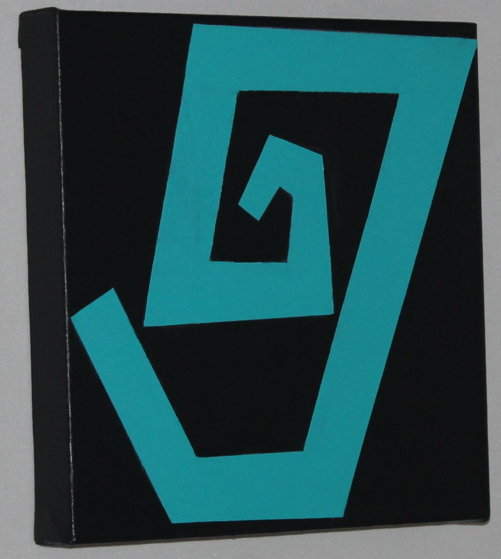Nighclub Art Decor Teal Minimaist Painting for Home or Office- night club