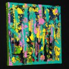 Abstract Art Painting - acrylic paint on canvas green, teal, yellow, pink, black