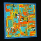 Abstract Art Painting - blue, teal, orange, yellow acrylic paint on canvas