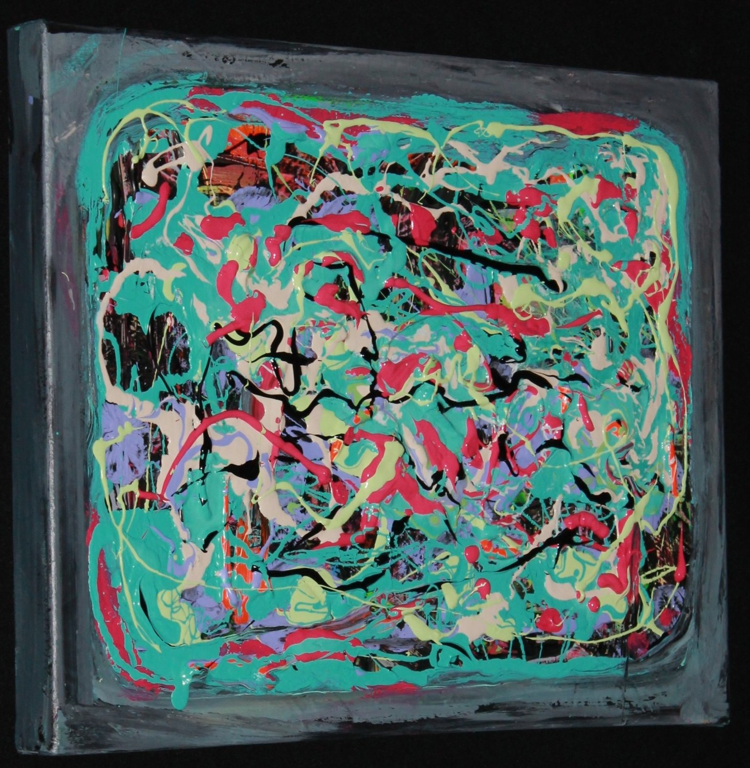 Abstract Art Painting - acrylic paint on canvas teal