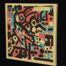 Primitive Style Yellow Painting Abstract Art