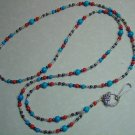 TURQUOISE/CORAL MOUNTAIN JADE BEAD~BEADED LANYARD~ID BADGE HOLDER~LANYARDS