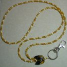 ADORABLE TOPAZ KITTY CAT~BEADED LANYARD~ID BADGE HOLDER~LANYARDS