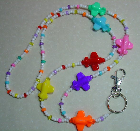 MULTI-COLORED AIRPLANES~BEADED LANYARD~ID BADGE HOLDER~LANYARDS