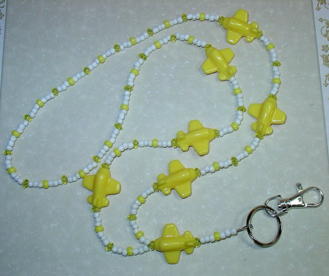 YELLOW AIRPLANES~BEADED LANYARD~ID BADGE HOLDER~LANYARDS