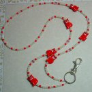 CUTE RED KITTY CAT~SWAROVSKI~BEADED LANYARD~ID BADGE HOLDER~LANYARDS