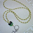ADORABLE GREEN KITTY CAT~BEADED LANYARD~ID BADGE HOLDER~LANYARDS