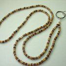 WOOD CUBES AND SHELL ~BEADED LANYARD~ID BADGE HOLDER~LANYARDS