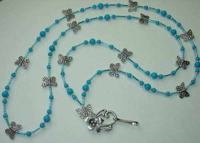 TURQUOISE MOUNTAIN JADE~ BUTTERFLY ~BEADED LANYARD~ID BADGE HOLDER~LANYARDS